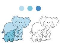 Kleurend boek voor kinderen: olifanten Stock Afbeelding