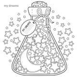 Kleurend boek voor volwassenen Een glasschip met dromen Een fles met sterren en maan vector illustratie