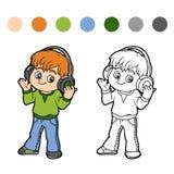 Kleurend boek: weinig jongen die aan muziek op hoofdtelefoons luistert Stock Foto