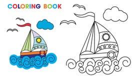 Kleurend boek zeilboot op de golven, om te onderwijzen Stock Fotografie