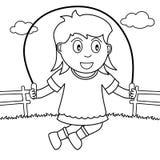Kleurend Meisje die met Kabel in het Park overslaan vector illustratie