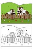Kleurend paginaboek voor jonge geitjes - koe Stock Afbeeldingen