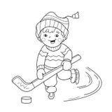 Kleurend Paginaoverzicht van het speelhockey van de beeldverhaaljongen Royalty-vrije Stock Fotografie