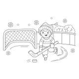Kleurend Paginaoverzicht van het speelhockey van de beeldverhaaljongen Royalty-vrije Stock Afbeeldingen