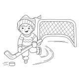 Kleurend Paginaoverzicht van het speelhockey van de beeldverhaaljongen Royalty-vrije Stock Foto's