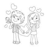 Kleurend Paginaoverzicht van Jongen en meisje met harten Royalty-vrije Stock Afbeeldingen