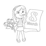 Kleurend paginaoverzicht van meisje met bloemen 8 maart Stock Afbeeldingen