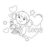 Kleurend paginaoverzicht van meisje met roze ter beschikking met harten Stock Foto