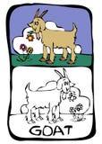 kleurende boekpagina: geit Stock Afbeeldingen