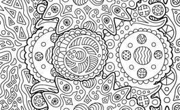Kleurende boekpagina met abstract kosmisch art. royalty-vrije illustratie