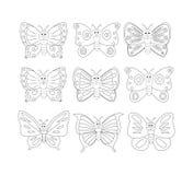 Kleurende boekpagina met 9cartoon-vlinder Vector illustratie Stock Afbeelding