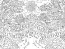 Kleurende boekpagina met zonnig fantasielandschap stock illustratie