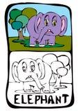 kleurende boekpagina: olifant Stock Foto's