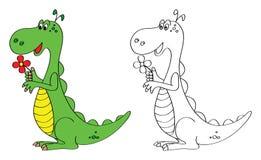 Kleurende boekpagina voor jonge geitjes: dinosaurus Stock Afbeeldingen