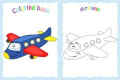Kleurende boekpagina voor kinderen met kleurrijk vliegtuig en ske Stock Foto