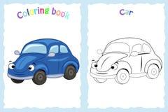 Kleurende boekpagina voor kinderen met kleurrijke auto en schets t Stock Afbeeldingen