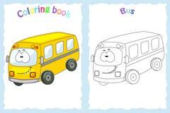 Kleurende boekpagina voor kinderen met kleurrijke bus en schets t Royalty-vrije Stock Fotografie