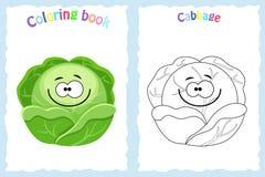Kleurende boekpagina voor kinderen met kleurrijke kool en sket Royalty-vrije Stock Fotografie