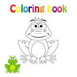 Kleurende boekpagina voor kinderen met kleurrijke prinskikker en royalty-vrije illustratie