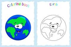 Kleurende boekpagina voor peuterkinderen met kleurrijke aarde stock illustratie