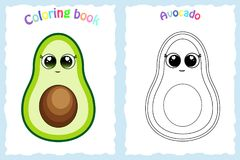 Kleurende boekpagina voor peuterkinderen met kleurrijke avocado Stock Fotografie
