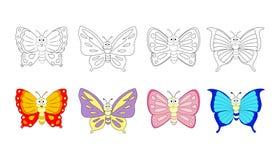 Kleurende boekpagina voor peuterkinderen met kleurrijke butterfl Stock Foto's