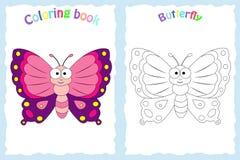 Kleurende boekpagina voor peuterkinderen met kleurrijke butterfl Stock Afbeelding