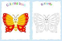 Kleurende boekpagina voor peuterkinderen met kleurrijke butterfl Royalty-vrije Stock Afbeelding