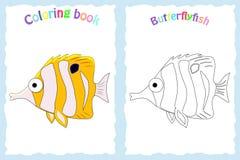 Kleurende boekpagina voor peuterkinderen met kleurrijke butterfl Royalty-vrije Stock Fotografie