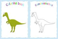 Kleurende boekpagina voor peuterkinderen met kleurrijke compsogn Stock Foto's