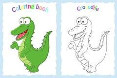 Kleurende boekpagina voor peuterkinderen met kleurrijke crocodil vector illustratie