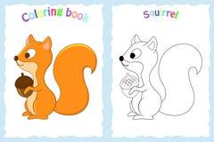 Kleurende boekpagina voor peuterkinderen met kleurrijke eekhoorn Stock Foto's