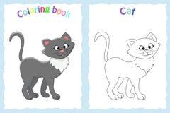 Kleurende boekpagina voor peuterkinderen met kleurrijke kat en Stock Afbeelding