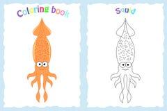 Kleurende boekpagina voor peuterkinderen met kleurrijke pijlinktvis Stock Foto's
