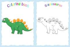 Kleurende boekpagina voor peuterkinderen met kleurrijke stegosau Royalty-vrije Stock Afbeelding