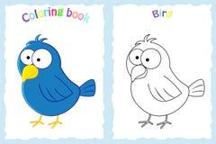 Kleurende boekpagina voor peuterkinderen met kleurrijke vogel en Stock Fotografie
