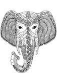 Kleurende boekpagina voor volwassenen Olifant Royalty-vrije Stock Afbeelding