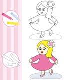Kleurende boekschets: dansend meisje Royalty-vrije Stock Foto