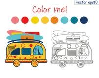 Kleurende boeksummer van vector affiche het surfen en het reizen vector illustratie