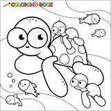 Kleurende boekzeeschildpadden onderwater Stock Afbeelding