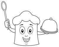 Kleurende Chef-kok Hat Holding Spoon & Dienblad Stock Fotografie