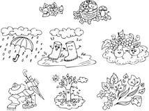 Kleurende de herfstelementen stock illustratie