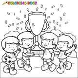 Kleurende de jonge geitjeswinnaars van het boekvoetbal Royalty-vrije Stock Foto