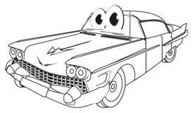 Kleurende gelukkige oude auto stock illustratie