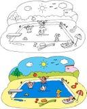 Kleurende kinderen bij het zwembad Royalty-vrije Stock Foto's