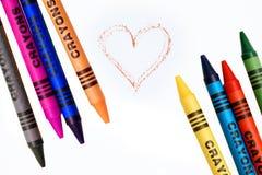 Kleurende kleurpotloden Royalty-vrije Stock Foto's