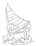 Kleurende pagina - beeldverhaalkind die pret hebben - illustratie voor de kinderen Stock Afbeelding