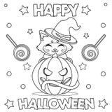 Kleurende pagina ` Gelukkig Halloween ` stock foto's