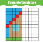 Kleurende pagina met abstract huis Onderwijsspel voor kinderen Trekkend voor het drukken geschikte activiteit, lerend symmetrie royalty-vrije illustratie