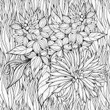 Kleurende pagina met bloemen in een gras vector illustratie